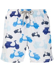 Mc2 Saint Barth Scooter Print Trunks White
