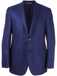 Canali Plaid Single Breasted Blazer Blue