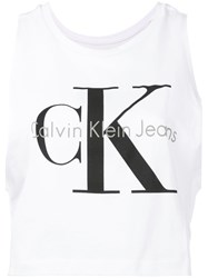 Calvin Klein Jeans Logo Print Tank Top Women Cotton S White