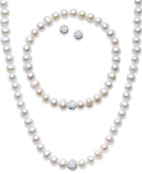 Macy's Sterling Silver Jewelry Set Cultured Freshwater Pearl 7 7 1 2Mm And Crystal 8Mm Necklace Bracelet And Earrings Set