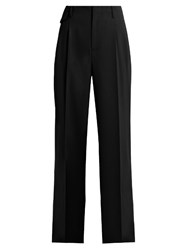 Nili Lotan Gia Wide Leg Twill Trousers Black
