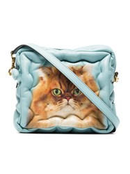 Anya Hindmarch Blue Cat Chubby Cube Leather Bag