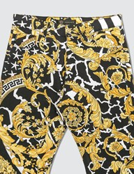Versace Classic Baroque Stretch Jeans Gold