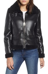 Kensie Faux Leather Moto Jacket With Faux Shearling Trim Black