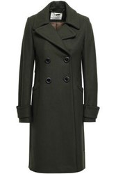 Goat Double Breasted Wool Blend Coat Army Green