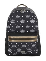 Dolce And Gabbana Printed Nylon Leather Backpack