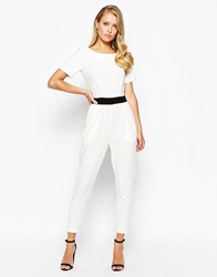 Closet Tapered Jumpsuit With Contrast Obi Belt Creamblack