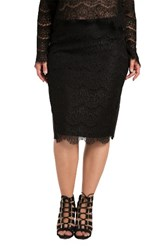 Standards And Practices Plus Size Women's Tori Lace Overlay Pencil Skirt