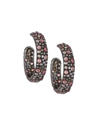 Bavna Pink Tourmaline And Diamond Hoop Earrings