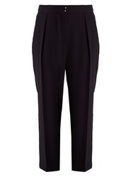See By Chloe High Rise Tapered Leg Crepe Trousers Navy