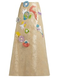 Delpozo Fish Embroidered Jacquard Maxi Skirt Beige