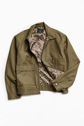 Urban Outfitters Uo Leopard Lined Gas Jacket Olive