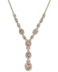 Givenchy Gold Tone Pink And Clear Crystal Lariat Necklace
