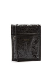 Balenciaga Arena Creased Leather Cross Body Pouch Black