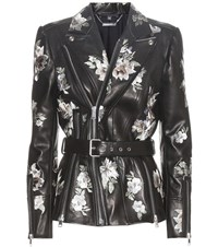 Alexander Mcqueen Embroidered Leather Jacket Black