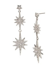 Betsey Johnson Pave Star Double Drop Earrings Silver