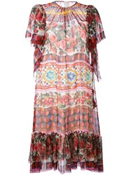 Dolce And Gabbana Printed Short Sleeve Dress Women Silk 42 Red