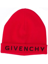Givenchy Logo Printed Beanie Red