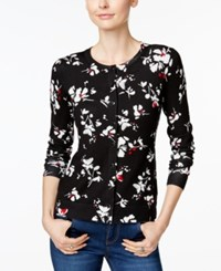 Charter Club Floral Print Cardigan Only At Macy's New Red Amore Combo