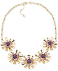 Carolee Gold Tone Purple Flower District Starbust Frontal Necklace