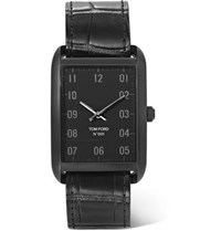 Tom Ford Stainless Steel And Alligator Watch Black