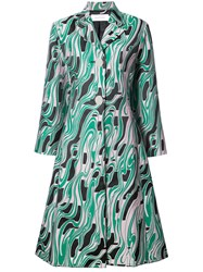 Marques Almeida Marques'almeida Printed Oversized Coat Polyester Green