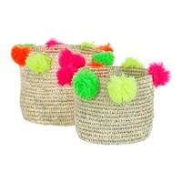 Amara Bahia Pom Pom Baskets Set Of 2 Multicolour
