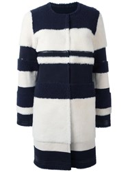 Yves Salomon Collarless Mid Coat Blue