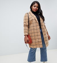 New Look Curve Coat With Grid Check In Camel Stone