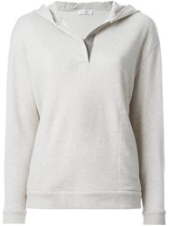 Brunello Cucinelli Metallic Detail Hoodie Grey