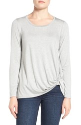 Gibson Women's Knotted Long Sleeve Tee Heather Grey
