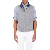 Isaia Reversible Suede Vest Gray