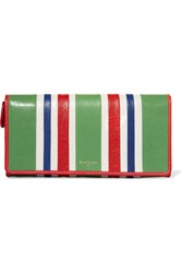 Balenciaga Striped Textured Leather Wallet Green