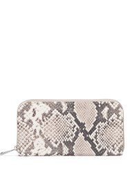 Aspinal Of London Continental Clutch Zip Wallet In Smooth Ivory And Natural Python Print Grey