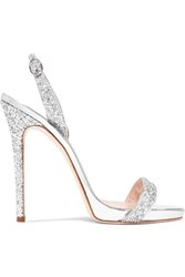 Giuseppe Zanotti Coline Glittered Metallic Leather Slingback Sandals Silver