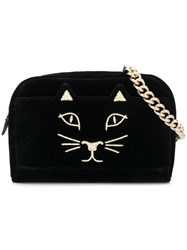 Charlotte Olympia Embroidered Kitty Satchel Black