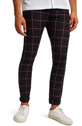Topman Crisscross Check Stretch Skinny Fit Trousers Navy Multi