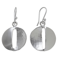 Andea Sterling Silver Round Smooth And Textured Drop Earrings