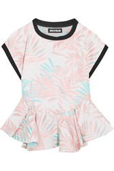 House Of Holland Palm Leaf Jersey Trimmed Jacquard Peplum Top Baby Pink
