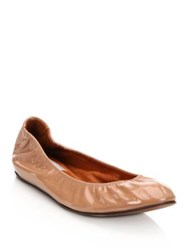 Lanvin Patent Leather Ballet Flats Nude