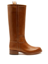 Etro Leather Knee High Boots Dark Tan