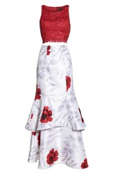 Sequin Hearts 'S Lace And Print Shantung Two Piece Gown Ivory Red