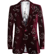 Alexander Mcqueen Red Slim Fit Metallic Print Velvet Blazer Burgundy