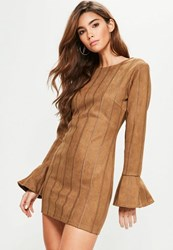 Missguided Tan Faux Suede Stitch Detail Bodycon Dress Brown