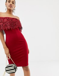 Paper Dolls Lace Overlay Bardot Pencil Dress In Red