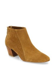 Aquatalia By Marvin K Farrow Perforated Suede Booties Cognac Ash