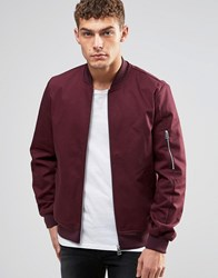 Asos Bomber Jacket With Sleeve Zip In Burgundy Burgundy Red