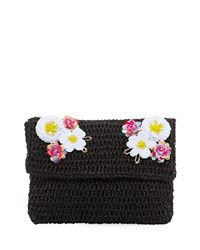 San Diego Hat Company Paper Clutch Bag With Flower Detail Black