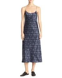 Vince Calico Floral Silk Satin Midi Length Slip Dress Navy