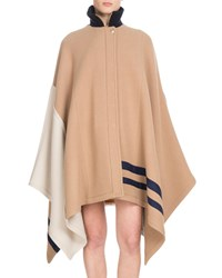 Chloe Button Front Multicolor Iconic Soft Wool Oversized Cape Brown Pattern